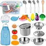 D-FantiX Kids Kitchen Pretend Play Toy Kitchen Accessories Cookware Playset with Stainless Steel Pots and Pans Utensils, Cooking Apron Chef Hat Cutting Vegetable Toys for Toddlers Boys and Girls
