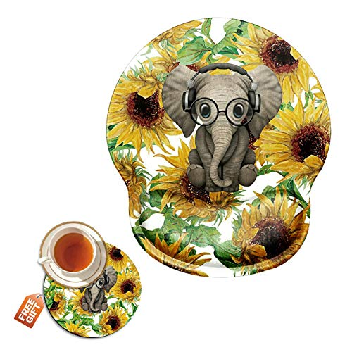 Ergonomic Mouse Pad with Wrist Support Gel, Sunflower Elephant Gaming Mousepad with Wrist Rest Non-Slip Rubber Base for Laptop Computer Home Office + Cup Coaster