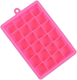 24 Grids Silicone Ice Cube Tray Molds,Square Shape Ice Cube Maker Fruit Popsicle Ice Cream Mold For Wine Bar Drinking,Rose Red
