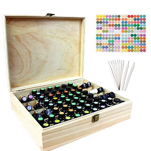 Beunyow 68 Löcher Hohe Kapazität Tragbar Holz Aromatherapie Geschenk-Box Ätherische Öle Flaschen Box Aufbewahrung Koffer Box - Geeignet für Nagellack, Duftöle, Ätherisches Öl, Stain und Lippenstift