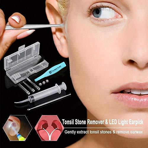 Towinle Praktisch Pflegeset LED beleuchtet Tonsillenstein Entferner Werkzeug mit Aufbewahrungskiste,1 20 ml Portable 360 Grad drehbar Nasenspray Flasche (Geschenk),1 Edelstahl Ohrlöffel (Geschenk)