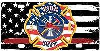 ボロボロの旗レッドライン消防士旗自動車金属ナンバープレート装飾装飾、女性男性のための車のタグ