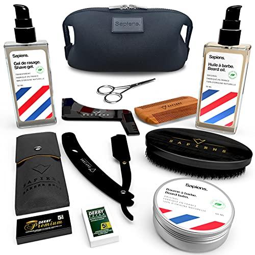 Kit à Barbe Complet Rasage et Entretien Sapiens Barber Shop - Soins Naturels Made in France - Gel à raser, Huile à Barbe, Baume à Barbe - Rasoir Coupe Choux, Accessoires Barbier, Trousse de Toilette