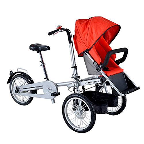 LPsweet Faltbare Baby-Auto, Dreirädriges Elektro Mutter Auto Mit Baby-Auto, Doppel Fahrrad Eltern-Kind-Auto-Baby-Kind, Can Sit-and-Ride,Rot,Oneseat