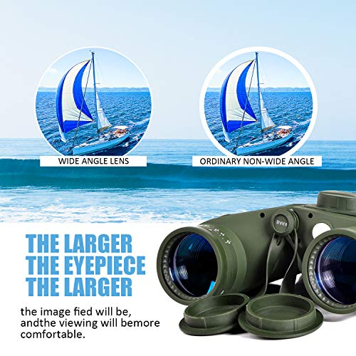RUDOOM 10X50 Marine Binoculars for Adults Waterproof with Compass Rangefinder Fogproof BAK4 Prism Lens Military Binocular for Navigation Boating Birdwatching and Hunting(Army Green)