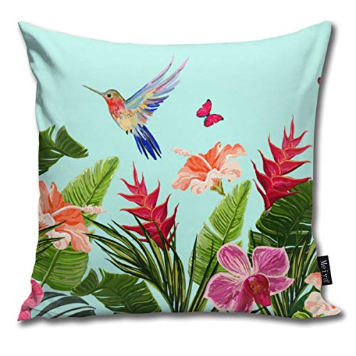 Elsaone Hummingbird Coconut Banana Palm Leaves Throw Pillow Covers For Home Indoor Friendly Comfortable Cushion Standard Size 18 x 18 Inch 45 x 45 cm