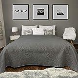 HOMELEVEL Couvre-lit couverture matelassée couvre-lit jeté Jeté de lit et de canapé XXL Dessus de Lit 2 Personnes Matelassée Jeté de lit et de canapé XXL Gris foncé 240 x 260 cm