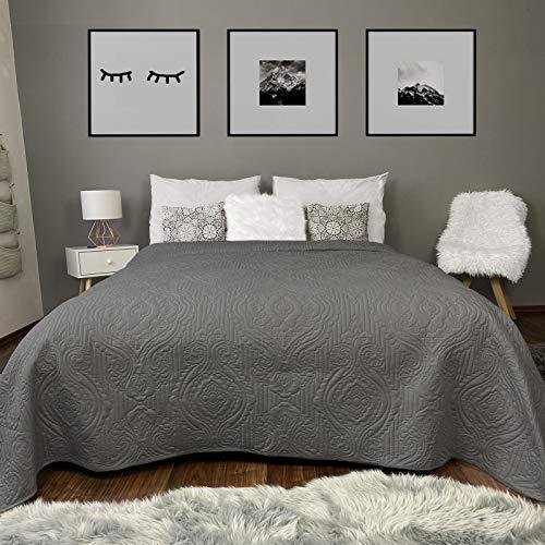 HOMELEVEL Tagesdecke Bett & Sofaüberwurf Bettüberwurf Sofa Tages Ornamente Decken Betthusse XXL Decke Überwurf Überdecke Dunkelgrau 200cm x 220cm
