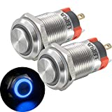 APIELE (Pcs of 2) 12mm Momentary Push Button Switch High Round Head Stainless Steel 1 Normally Open with Ring Led (Blue)