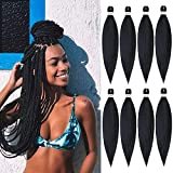 Pre Stretched Braiding Hair,8 Packs/Lot 20 Inch Professional Itch Free Low Temperature Synthetic Fiber Crochet Braids Crochet Hair Braiding Hair Extension Twist Braid 20 inches 8 packs 1B#…