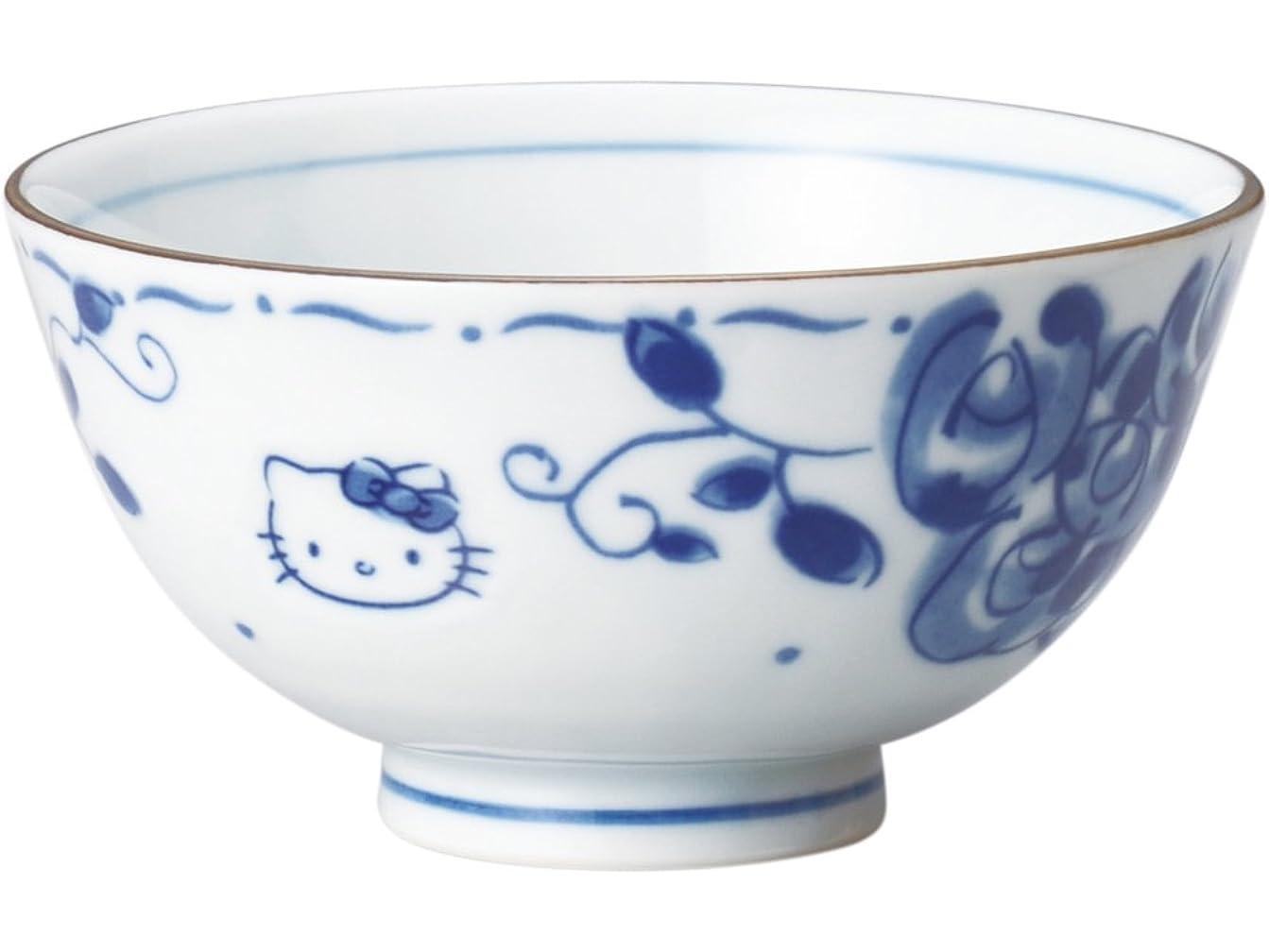 フライト移行破壊するサンリオ(SANRIO) 「 Hello Kitty(ハローキティ) 」 キティ ブルーローズ(染付) お茶碗(化粧箱入) 直径11cm 白 307131