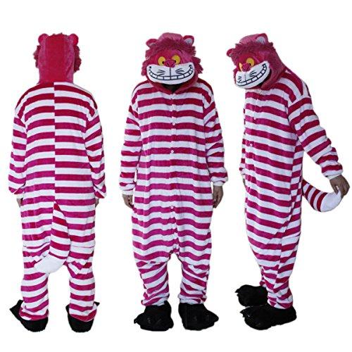 (S) Gato de Alicia en el Pas de las Maravillas, Kigurimi, pijama para adulto, adolescente unisex, modelo mixto de peluche, muy suave, talla S a XL, disfraz de carnaval Cosplay (S (150-155 cm)