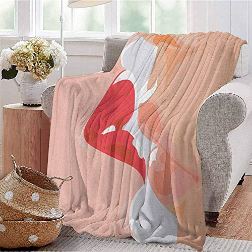fenlin Kiss Luxury Special Grade Blanket Close Up View of a Kissing Man and Woman Romance Passion Attraction Seduction Theme Multi-Purpose use for Sofas etc. W80 x L60 Inch Peach Red