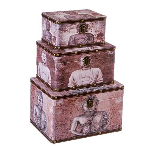 Nahuel Home Juego de 3 baúles Madera Budas Medidas de la Caja...