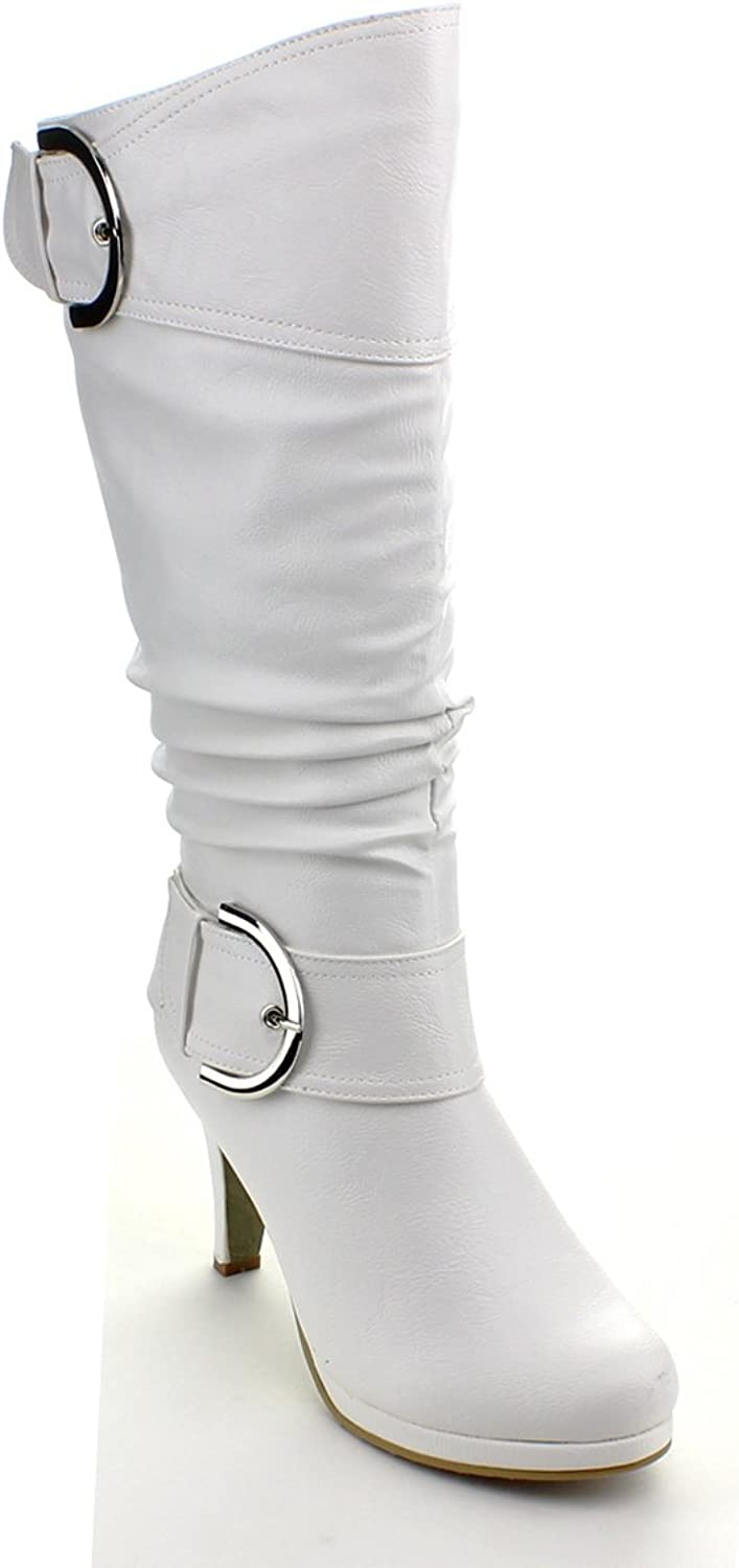 Top Moda PAGE-22 Womens Knee High Round Toe Buckle Slouched Low Heel Boots,10 B(M) US,White