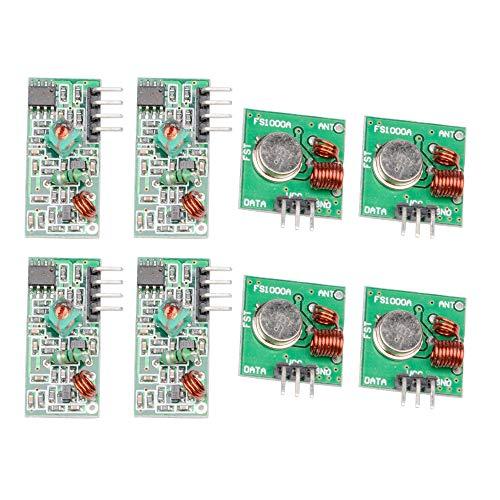 ButDillon 4Pcs 433MHz RF Módulo Receptor Transmisor de Radio Inalámbrico Enlace Kit emisor y Receptor para Arduino Raspberry Pi