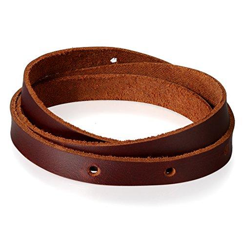 JewelryWe Schmuck Herren Wickelarmband, Multiturn Geflochten Leder Armband Armreif Manschette, Braun