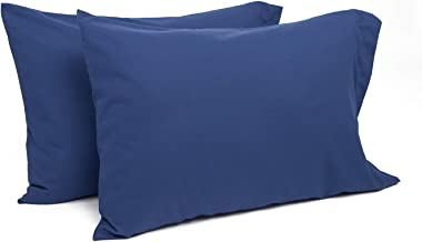 TILLYOU Toddler Travel Pillowcases Set of 2, 14x20- Fits Pillows Sized 12x16, 13x18 or 14x19, 100% Silky Soft Microfiber, Envelope Closure Machine Washable Kids Pillow Cases, Navy