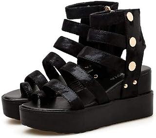 Womens open toe wedge sandals women's side zipper fashion sandals, summer rivets waterproof platform sandals non-slip platform heels