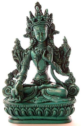 BUDDHAFIGUREN/Billy Held Weiße Tara Figur Buddha Statue, Resin, Türkis 15 cm
