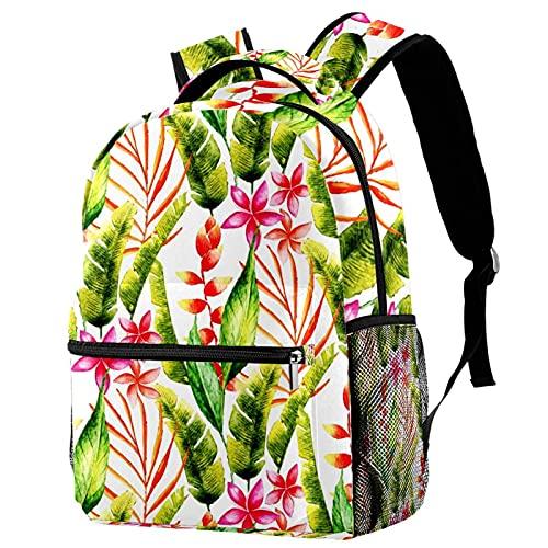 Leisure Campus - Mochilas de viaje con hojas tropicales con soporte para botellas para niñas y niños