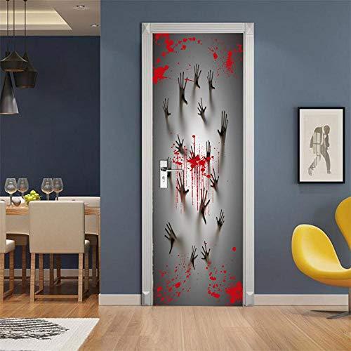Adhesivo Decorativo Para Puerta 3Dpegatinas Para Puertas Huella De Sangre De Halloween Autoadhesivas