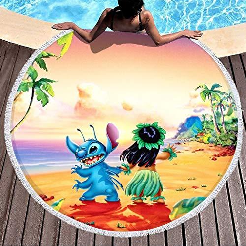 Toalla redonda de playa Lilo & Stitch Hawaii, toalla de baño, toalla de playa, manta de picnic, suave para fitness y deporte, tapiz, con flecos, para niños y mujeres, color blanco, talla única