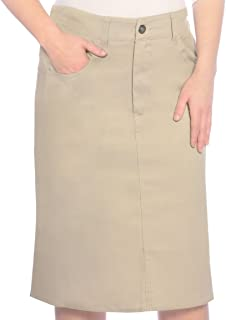 Women's Modest Knee Length Lightweight Cotton Stretch Twill Pencil Skirt