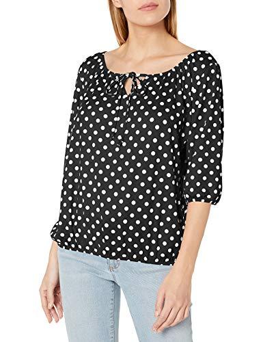 Star Vixen Women's 3/4 Sleeve Peasant Top with Keyhole Tie and Elastic Bottom Hem, Black Dot, XL