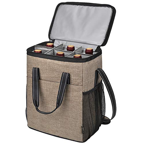 6 Bottle Wine Carrier, Insulated Leakproof Padded Wine Cooler Carrying Tote Bag for Travel, Camping and Picnic, Perfect Wine Lover Gift, Beige