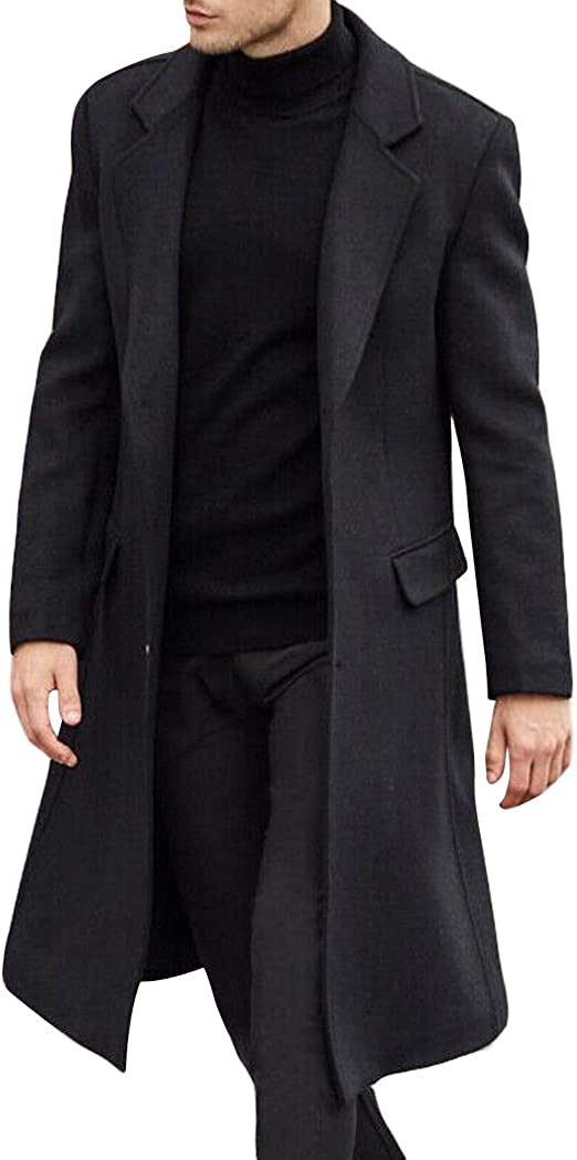 watersouprty Men's Pea Coat Notched Lapel Single Breasted Long Wool Blend Coat