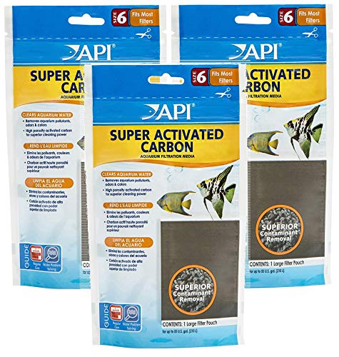 API 3 Pack of Super Activated Carbon Filter Pouches, Size 6, Removes Aquarium Pollutants