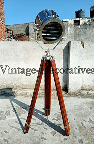 Designer Chrome Floor Lamp with Wooden Tripod Floor Lamp Marine Searchlight Lamp