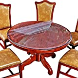 Crystal Clear 60 Inch Round Table Protector Plastic Vinyl Tablecloth Protective Desk Office Blotter Pad Glass Wood Dining Coffee End Dinner Tabletop Protection Circle Table Cover Mat Wipeable PVC 5ft