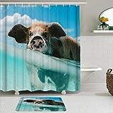 Ngkaglriap Duschvorhang Sets mit rutschfesten Teppichen,Nettes Schwein Nehmen Sie EIN Bad im blauen Meerwasser lustig mit himmelweißer Wolke, Badematte + Duschvorhang mit 12 Haken