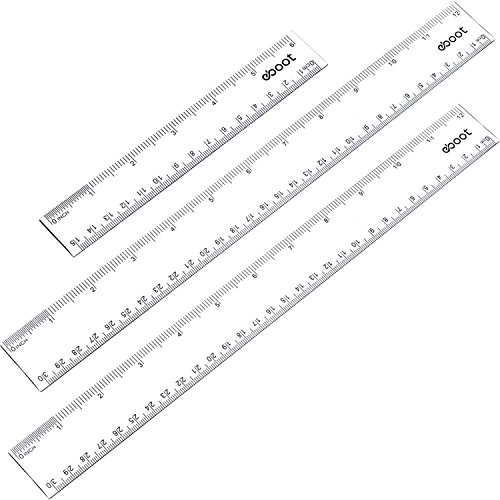 eBoot 3 Pieces Plastic Clear Ruler Straight Ruler Plastic Measuring Tool 2 Pieces 12 Inches and 1 Piece 6 Inches