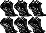 Rainbow Socks - Damen Herren Quarter Sport Socken ABS - 6 Paar - Schwarz - Größen EU 42-43