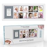 Cornice per foto in legno massello 12 mesi per bambini con regali per baby shower in argilla premium per registro battesimo Regalo di nascita originale con confezione regalo Set di souvenir handprint