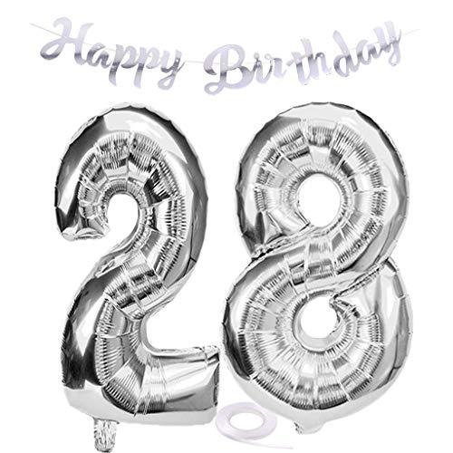 SNOWZAN Luftballon 28. Geburtstag Silber Mädchen Zahl 28 Riesen Folienballon Helium Nummer 28 Luftballon Große Zahlen 28 Jahre XXL 28. Happy Birthday Banner Girlande 32 Zoll Riese Zahl 28 für Party