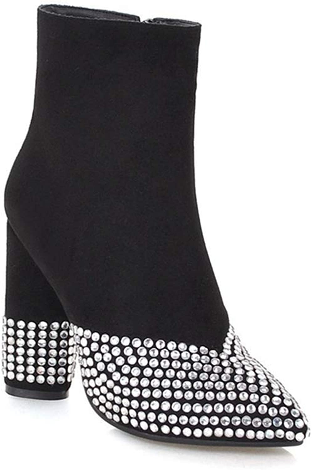 GIY Women's Sparkle Rhinestone High Heeled Ankle Boots Pointy Toe Zipper Comfort Winter Dress Short Bootie
