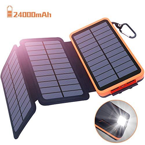 Batería Externa 24000mAh Cargador Solar, Power Bank solar - 2 Entradas (3 Paneles Solares y USB) 2 Puertos USB de Salida 2.1A, Lámpara y Gancho LED, Compatible con iPhone, iPad, Samsung y otros