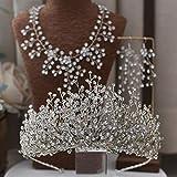 3 piezas Set Princesa novia de la boda del baile Tiara cristalina del Rhinestone corona for niños niñas y adultos de vestir, aleación de aluminio de la plata del metal plateado Cinta de cabeza Tiara