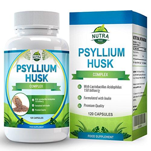 Fibra de cáscara de Psyllium. Potente suplemento de fibra que colabora con la regularidad, promueve la salud cardíaca y gastrointestinal y ayuda a bajar de peso. Hecho en el Reino Unido. 120 cápsulas de 500mg
