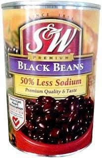 S&W Premium BLACK BEANS 50% LESS SODIUM 15oz (10 Pack)