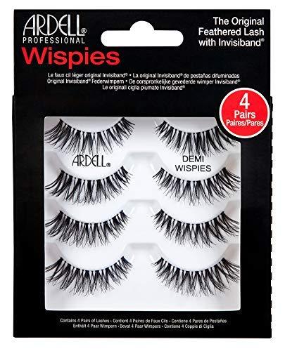 Ardell Professional Echthaarwimpern Demi Wispies (4 Paar), Eye-lashes für den natürlichen Look (ohne Wimpernkleber), sichtbar schöne Wimpern schnell und einfach, handgefertigt ultra dünn, wiederverwendbare natürlich schwarze falsche Wimpern