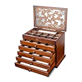 Kendal Large Upgrade Real Wooden Jewelry Box, 6 Layer with 5 Drawers,...