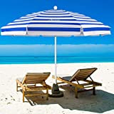 MOVTOTOP Beach Umbrella, 6.5ft Beach Umbrella with Sand Anchor & Tilt Mechanism, Portable UV 50+ Protection Beach Umbrella with Carry Bag for Patio Garden Beach Outdoor Blue/White