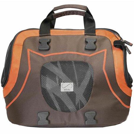 犬のキャリーバッグ インフィニタ ブラウンxオレンジ INFINITA DOG BAG egr カフェマットorお散歩バッグ付き