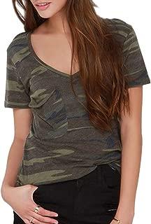 VERO VIVA Women's Military Camo Plunge V-Neck Short Sleeve Punk Casual T-Shirt Top