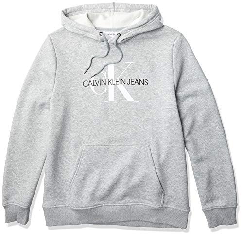 Calvin Klein Men's Fleece Hoodie Logo Pop Over Sweatshirt, Heroic Grey Heather Monogram, Medium